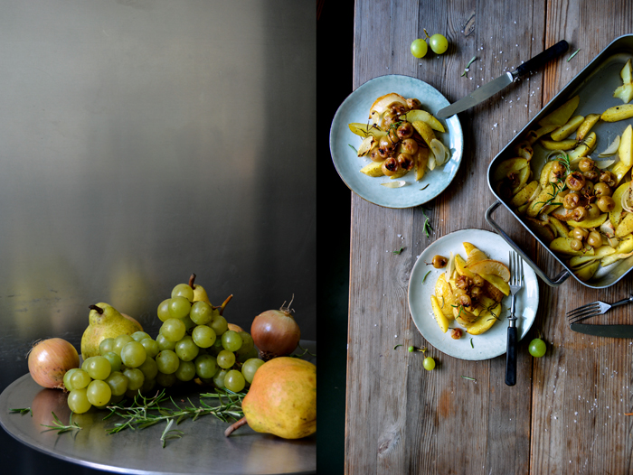 Roasted Potato, Onion and Pear Wedges with Grapes and Rosemary