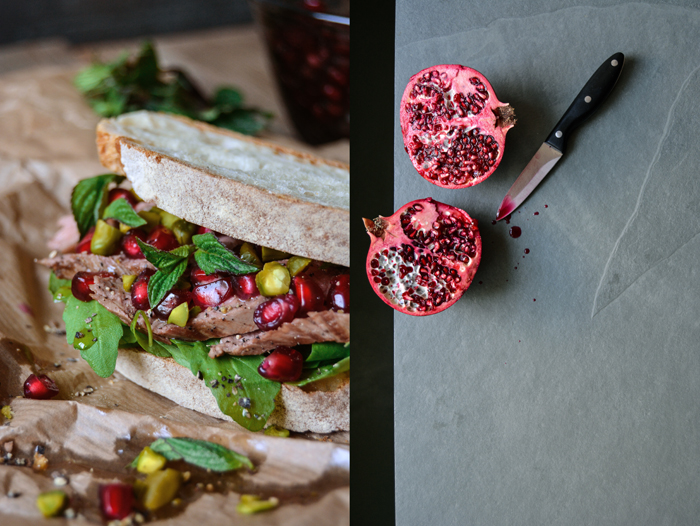 Lamb, Pomegranate and Pistachio Sandwich with Mint