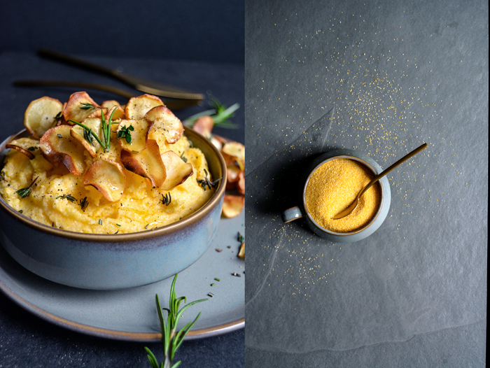 Polenta with Parsnip Chips and Maple Butter