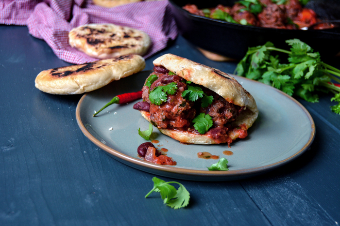 Kidney Bean, Cumin, and Beef Polpetti with Torta al Testo