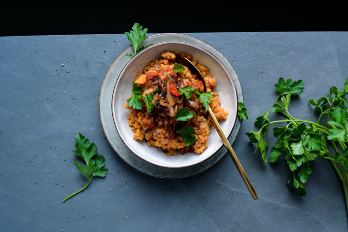 Spicy Red Lentils with Tahini and Harissa