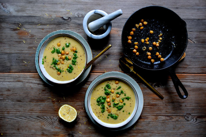 Chickpea Potato Soup with Rucola Pesto
