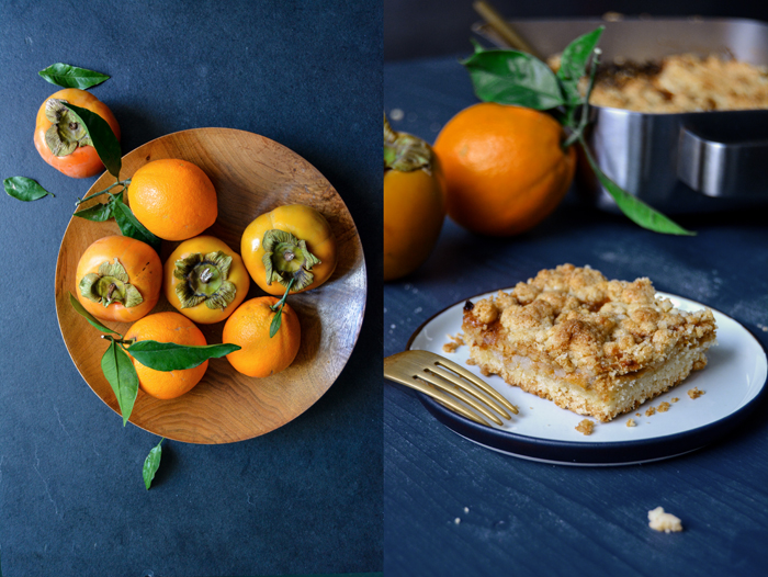 Persimmons and Orange Streusel Bars