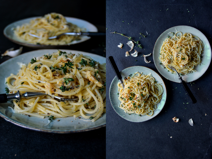 Roasted Garlic Butter Spaghetti