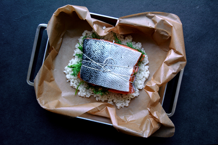 Salt Baked Salmon Fillet with Dill and Juniper