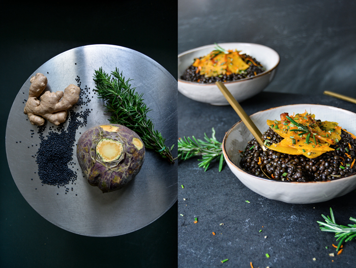 Beluga Lentils With Ginger Orange Rutabaga And Rosemary Meike Peters Eat In My Kitchen