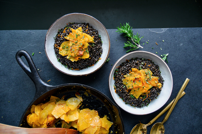 Beluga Lentils with Ginger Orange Rutabaga and Rosemary