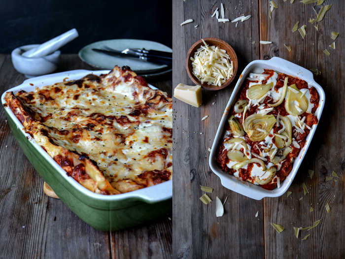 Bacon Fennel Tomato Lasagna