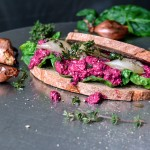Beet Ricotta and Roast Shallot Sandwich