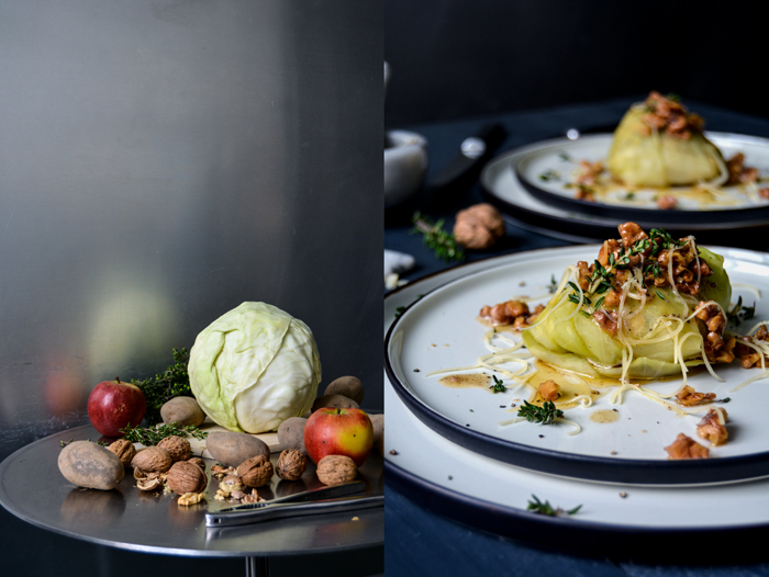 Potato and Appel Stuffed Cabbage Rolls with Walnut Butter
