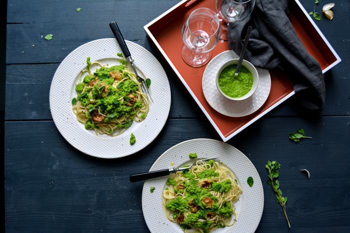 Spaghetti with Pea Pesto, Roast Garlic, and Fresh Marjoram