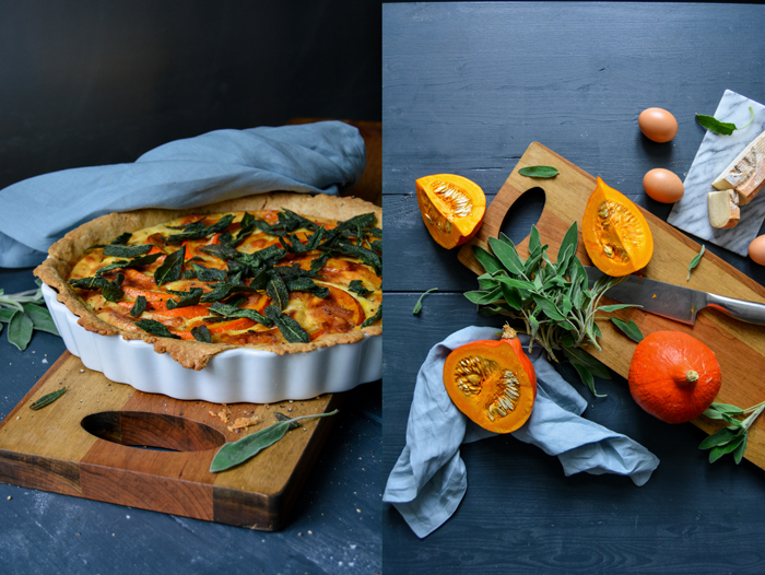 Pumpkin Quiche with Taleggio and Crisp Sage