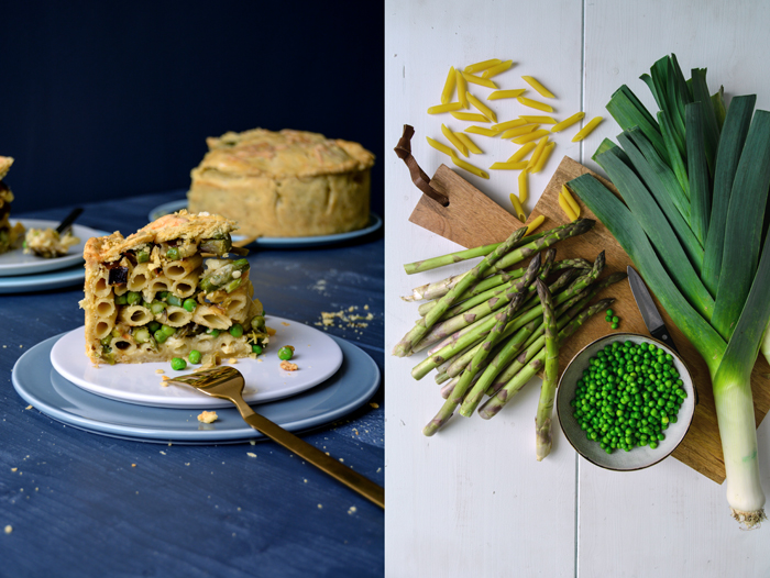 Spring Timpana - Maltese Pasta Pie with Asparagus, Leeks, and Peas