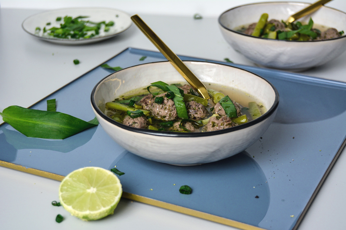Green Minestrone with Lime-Arugula Meatballs