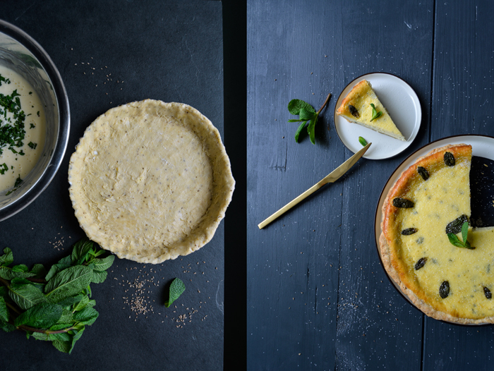 Mint Cheesecake with Aniseed Crust