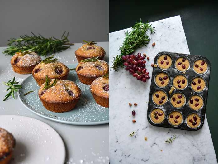 Grape and Friands with Caramelized Rosemary