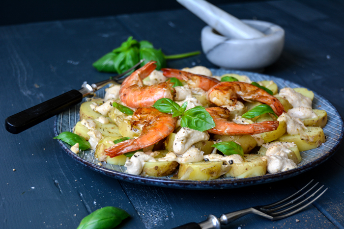Potatoes with Cinnamon Hummus, Basil, and Prawns