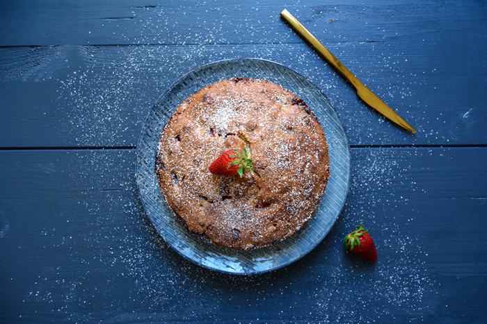Strawberry White Chocolate Breakfast Cake