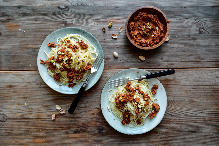 Pasta with Dried-Tomato and Pistachio Pesto