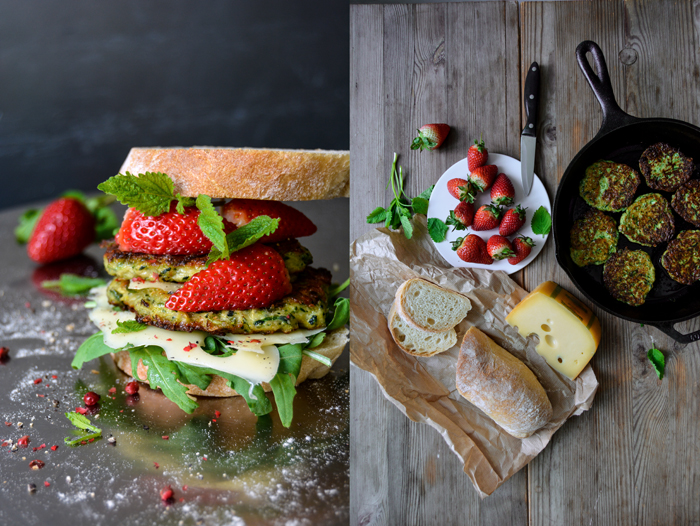 Zucchini Cheese Fritter and Strawberry Sandwich