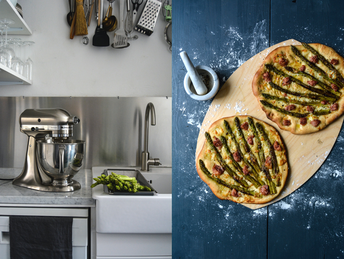 Pizza Bianca with Green Asparagus, Salsiccia, and Mozzarella di Bufala