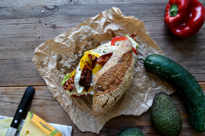 Bacon, Egg, and Cheese Sandwich with Garden Vegetables