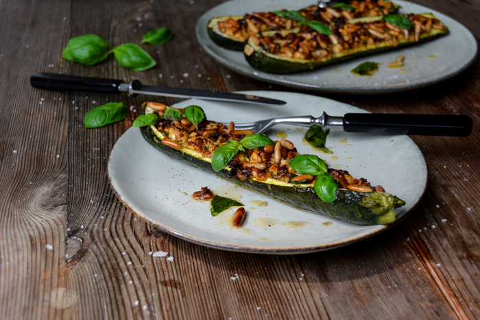 Zucchini stuffed with Feta, Basil, and Pine Nuts