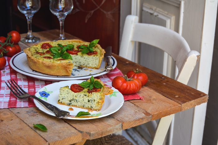 Basil Ricotta and Tomato Quiche