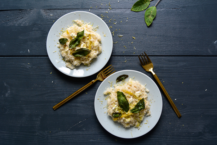 Lemon Mascarpone Risotto with Crispy Sage