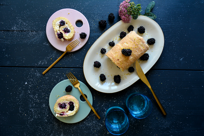 Cheesecake Swiss Roll with Mascarpone and Blackberries