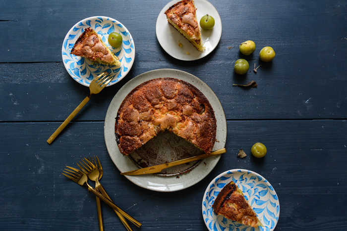 French Yogurt Cake with Greengage Plums
