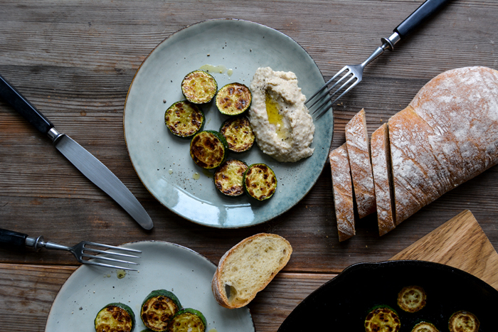 Caper Bean Dip with golden sautéed Zucchini