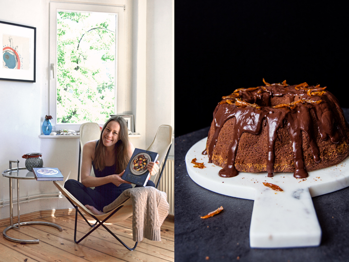 Chocolate Olive Oil Bundt Cake with Candied Orange Peel