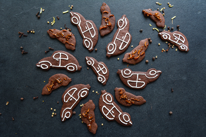 Chocolate Spice Christmas Cookies with Candied Lemon Peel