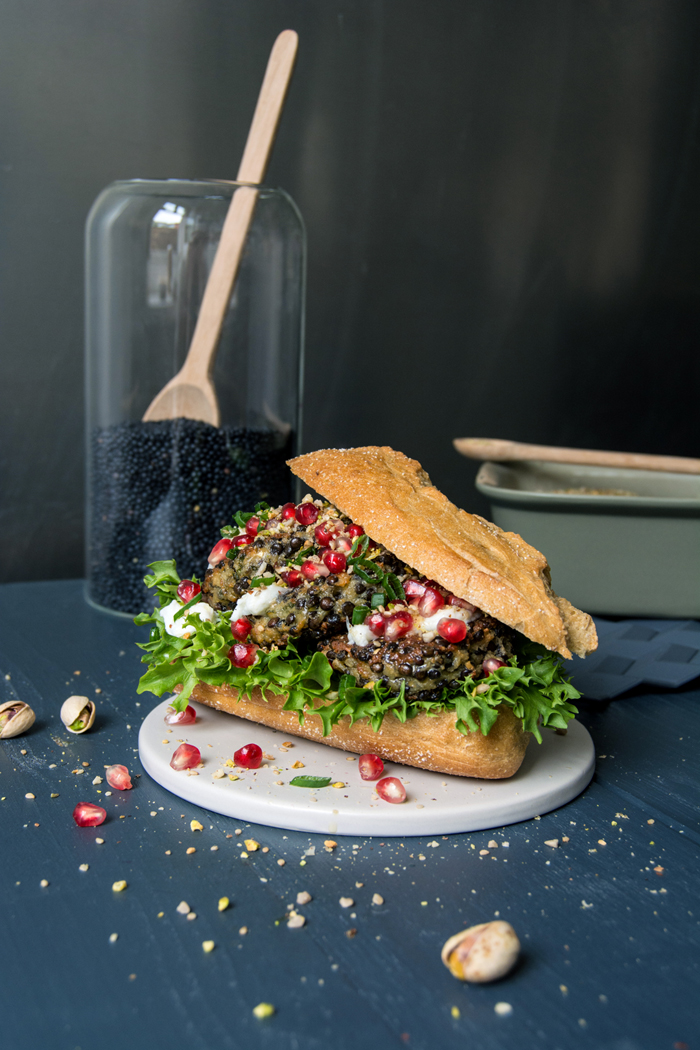 Lentil Burger with Mozzarella, Pomegranate and Dukkah