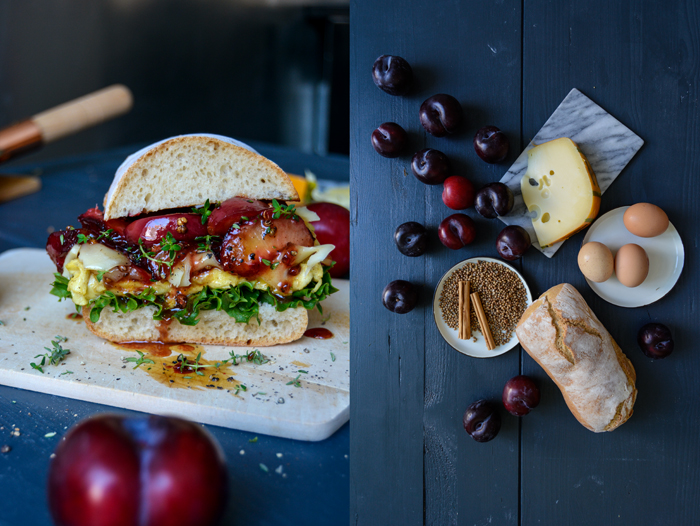 Spiced Plum and Cheese Omelette Ciabatta Sandwich