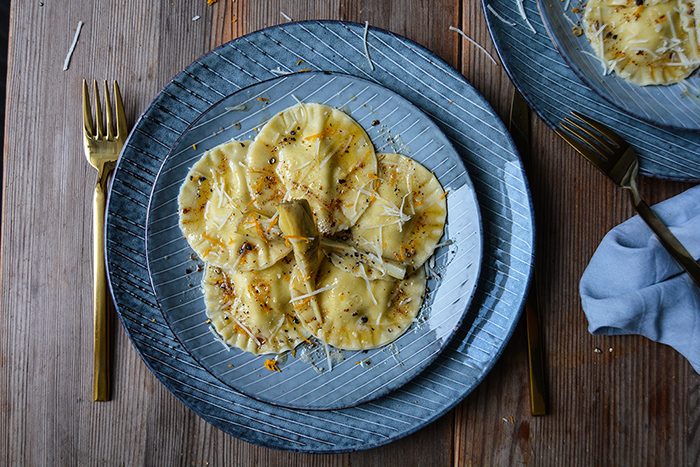 Artichoke, Ricotta and Orange Ravioli