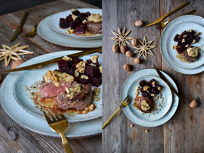 Beef Filet, Walnut Butter and Beetroot for Christmas