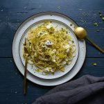 Spaghetti with Lemon Pistachio Pesto and Mozzarella di Bufala