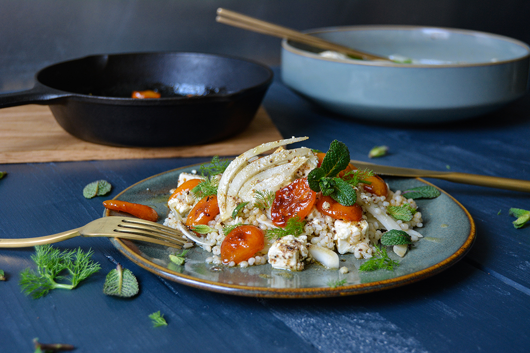 Feat and Fennel Barley with Caramelized Kumquats