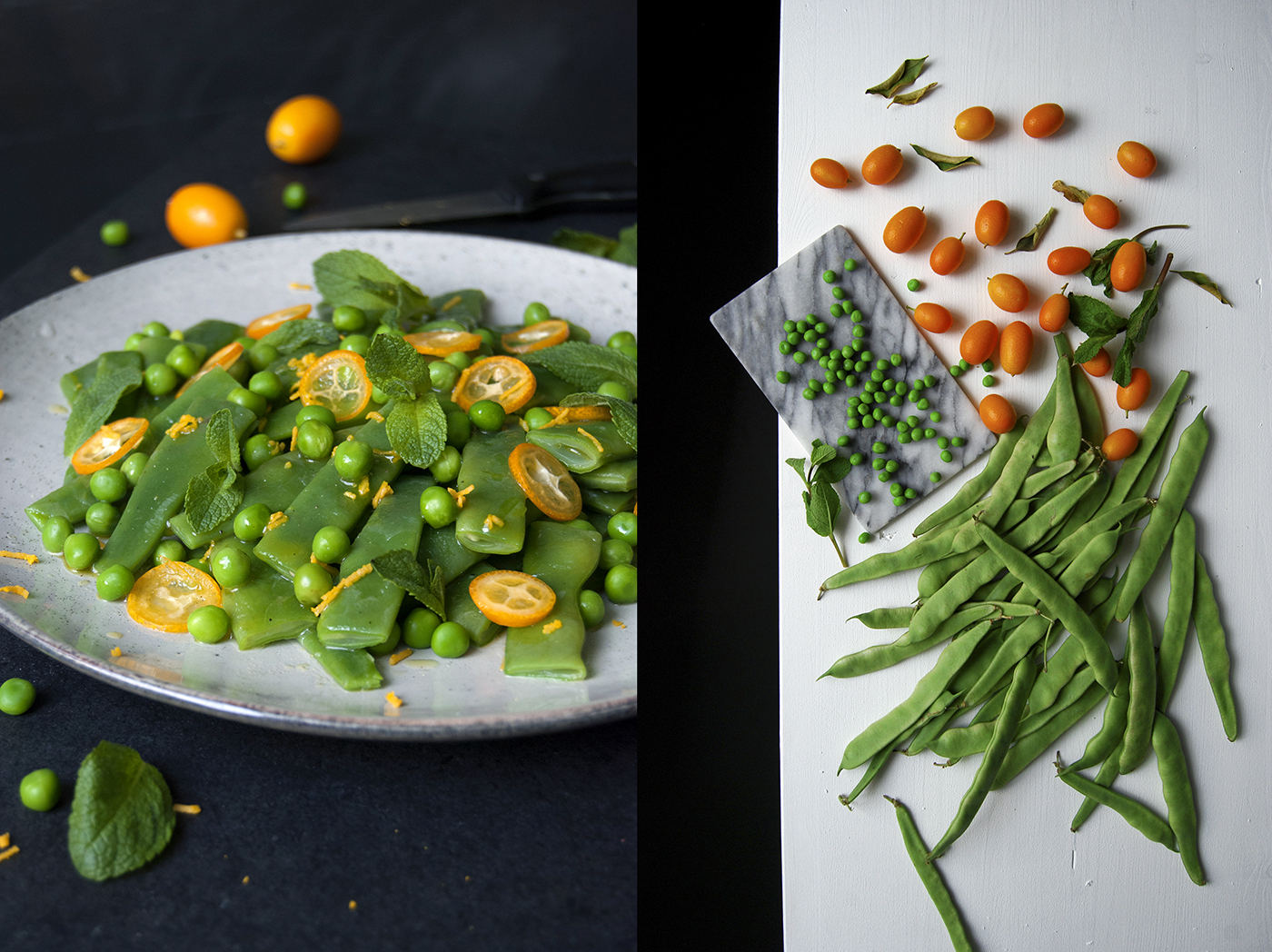 Bean Pea Kumquat Salad