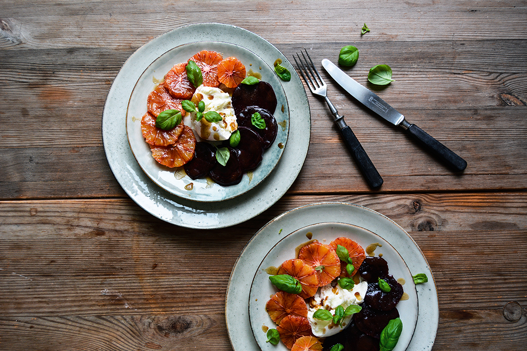 Winter Caprese: Blood Orange, Beetroot, and Mozzarella di Bufala