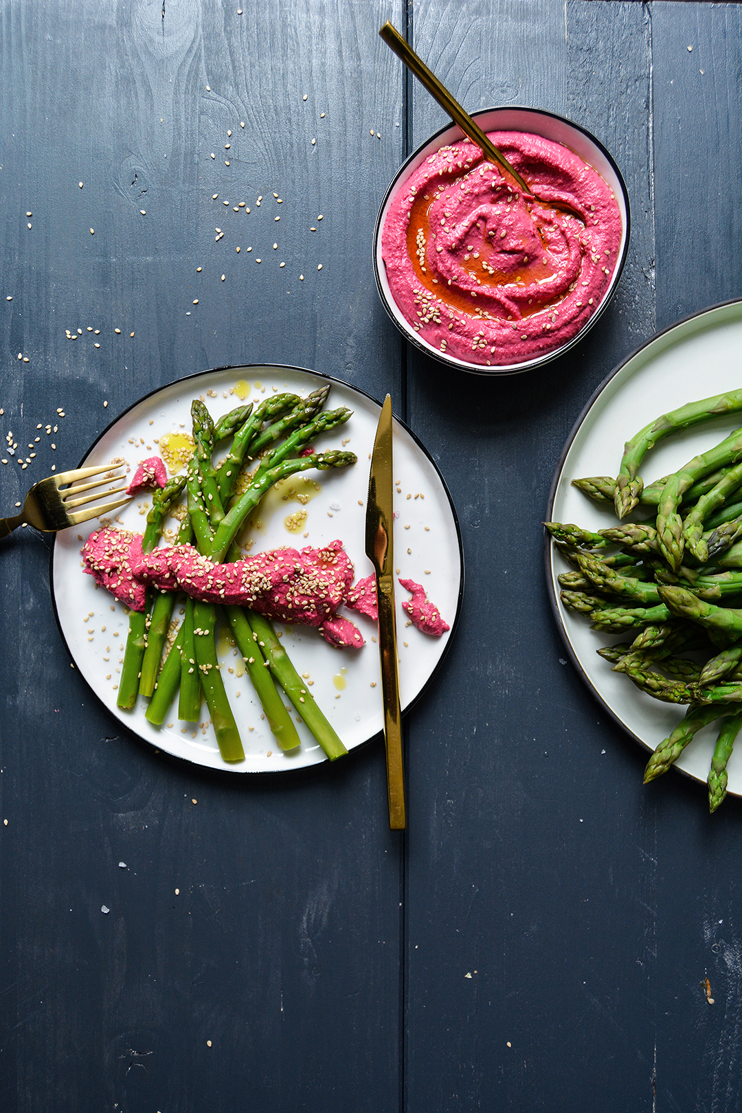 Green Asparagus with Beet and Chickpea Hummus