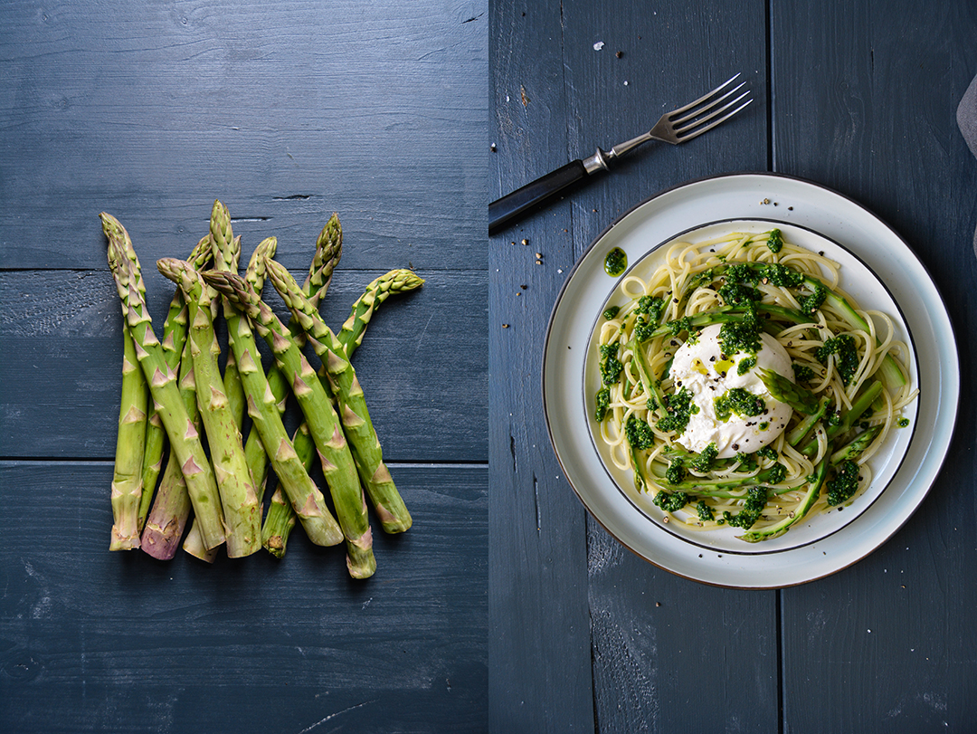 Spaghetti with Asparagus, Burrata and Pesto