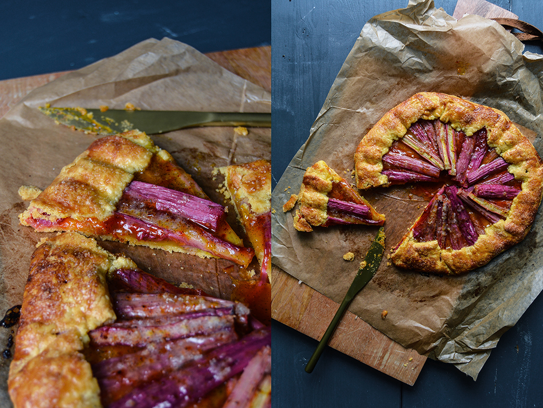 Rhubarb Corn Galette with Saffron Sugar