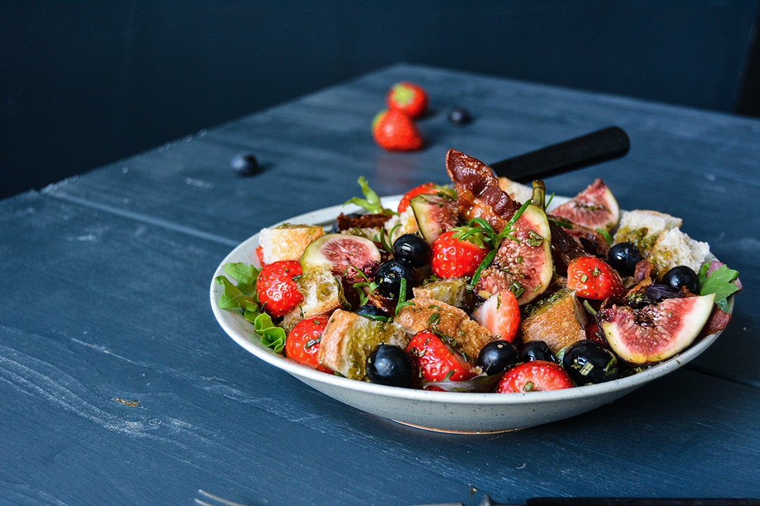 Berry and Bacon Panzanella