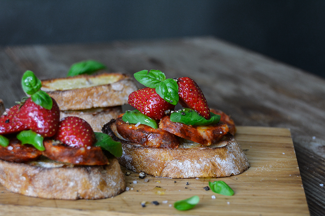 Chorizo and Strawberry Bruschetta with Basil
