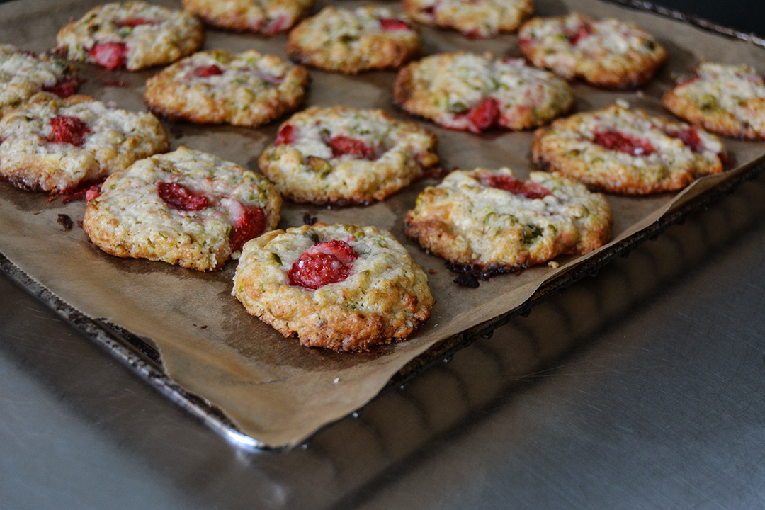 Strawberry Oat Pistachio Cookies with White Chocolate