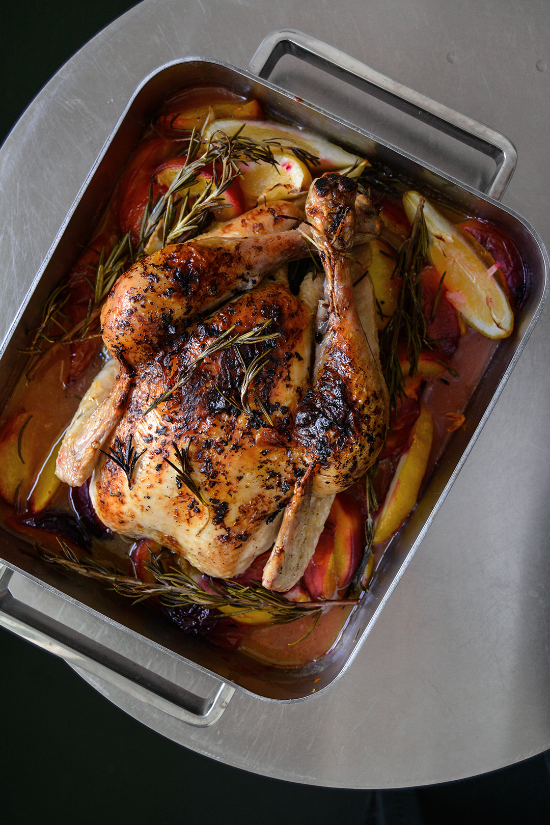 Lemon Butter Roast Chicken with Peaches and Rosemary