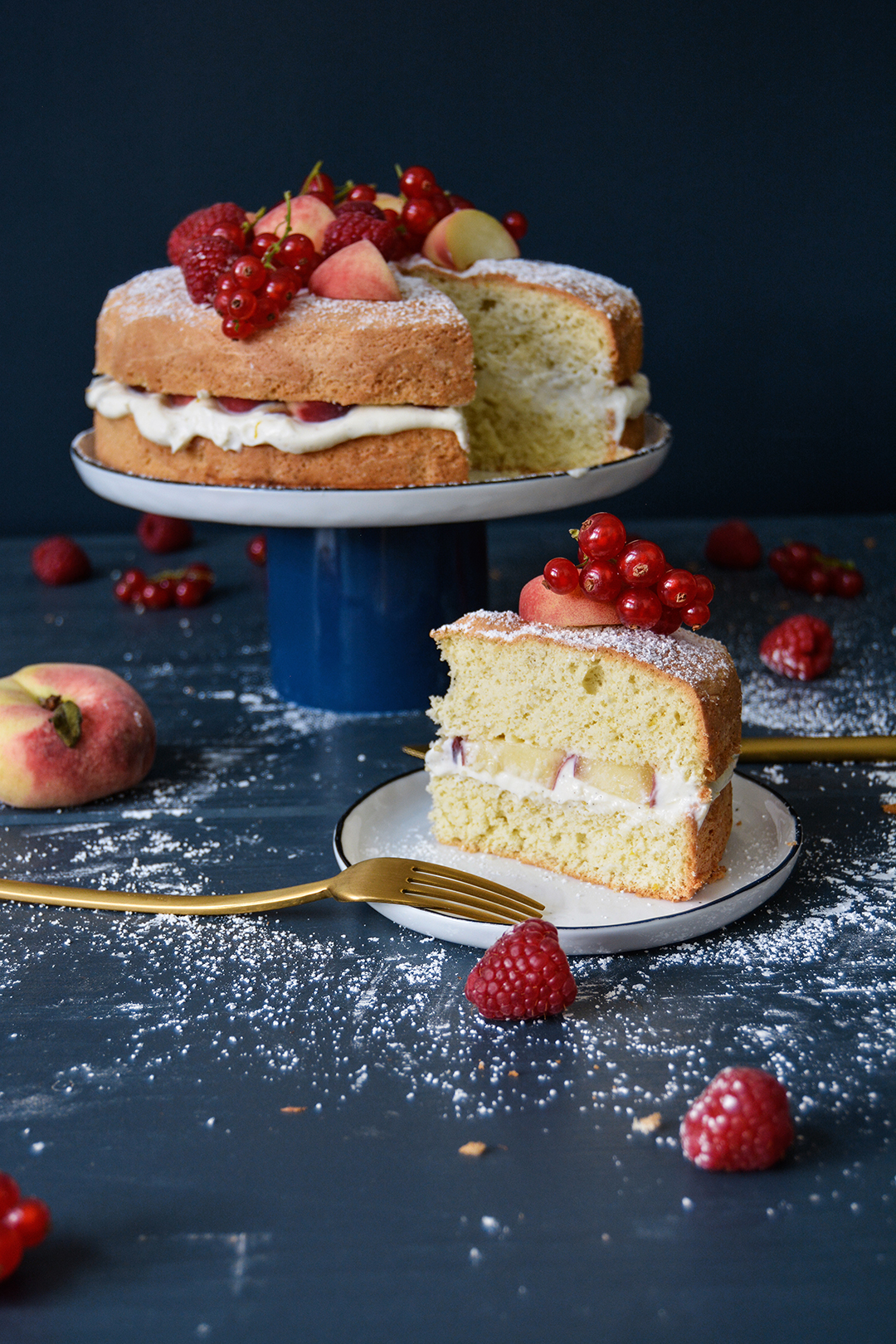 Peach and Ricotta Summer Sponge Torte